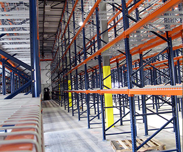 interlake and mecalux tear drop roll formed pallet racking