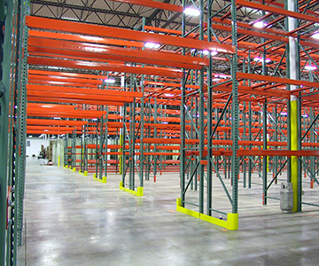 Pallet Rack Tunnel with Guarding (fork truck aisle access)